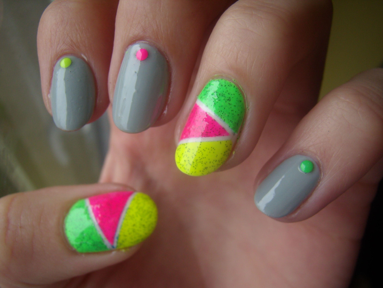 Neon nail art using studs from bps | Nail Art Inspo | Pinterest ...