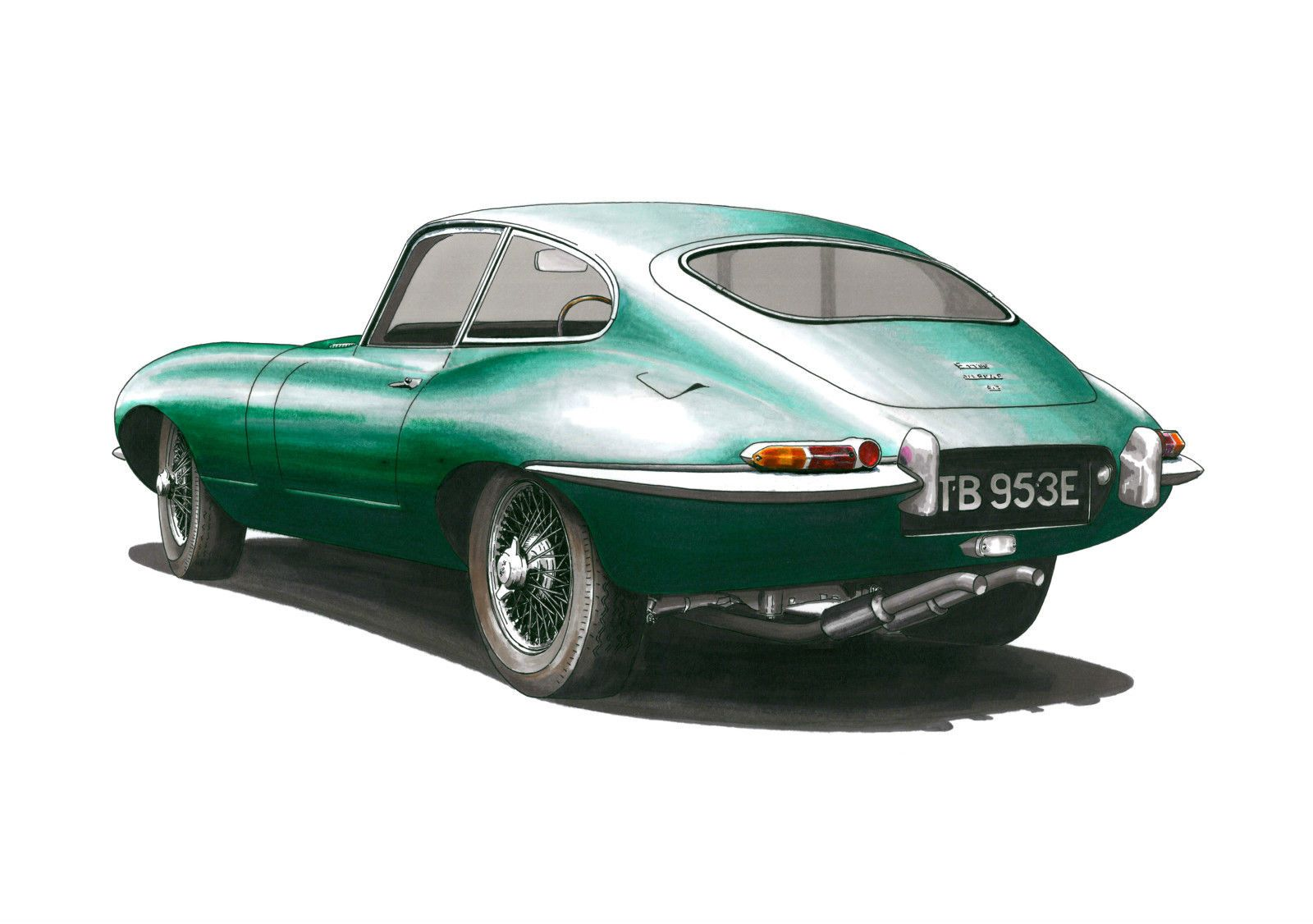 Jaguar E-Type Series 1 Fixed Head Coupe POSTER PRINT A1 size | eBay
