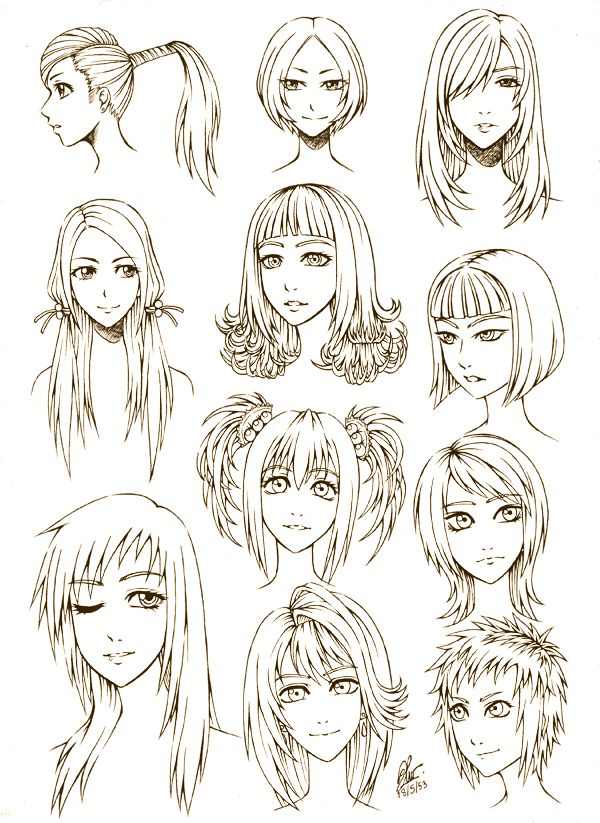 how to draw short anime hair female