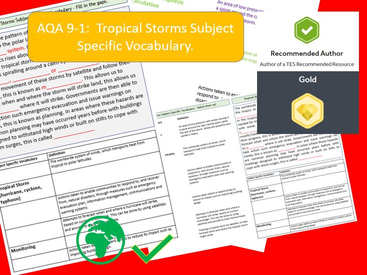 AQA 91 GCSE Geography Tropical Storms Key Vocabulary