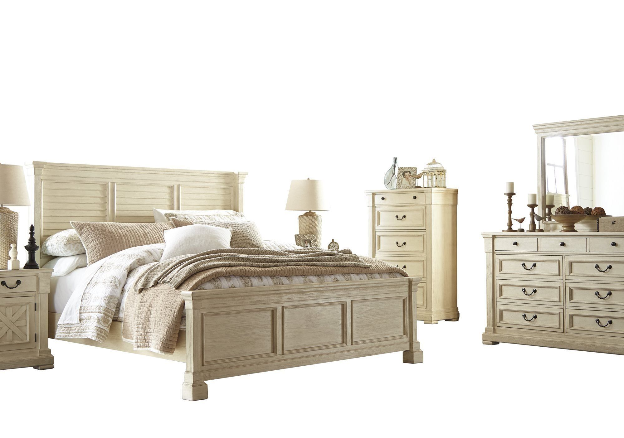 Best Ashley Bolanburg 6Pc Bedroom Set Queen Louvered Bed 400 x 300