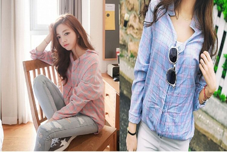 Cool New Fashion Women Clothes Korean Style Long Sleeve Casual Plaids 2017, 2018