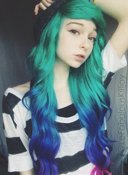 Turquoise Green Ombre Hair Color Idea With Blue And Pink Wonderful Effect With 613a Emo Scene Hair Scene Hair Hair Styles
