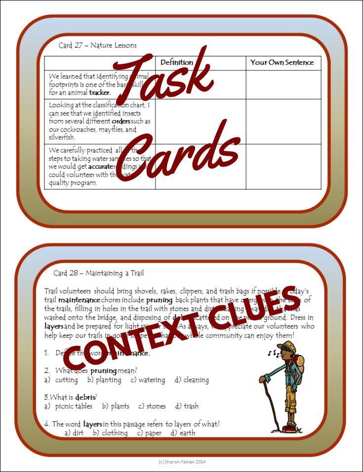 Context Clues Task Cards Expedition Context Clues Task Cards Context Clues Task Cards