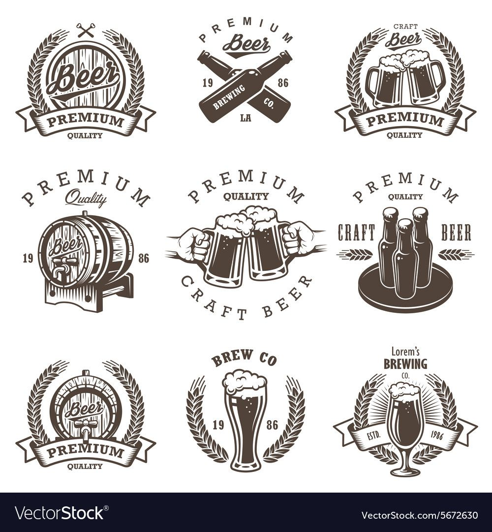 Set Of Vintage Beer Brewery Emblems Labels Logos Badges And