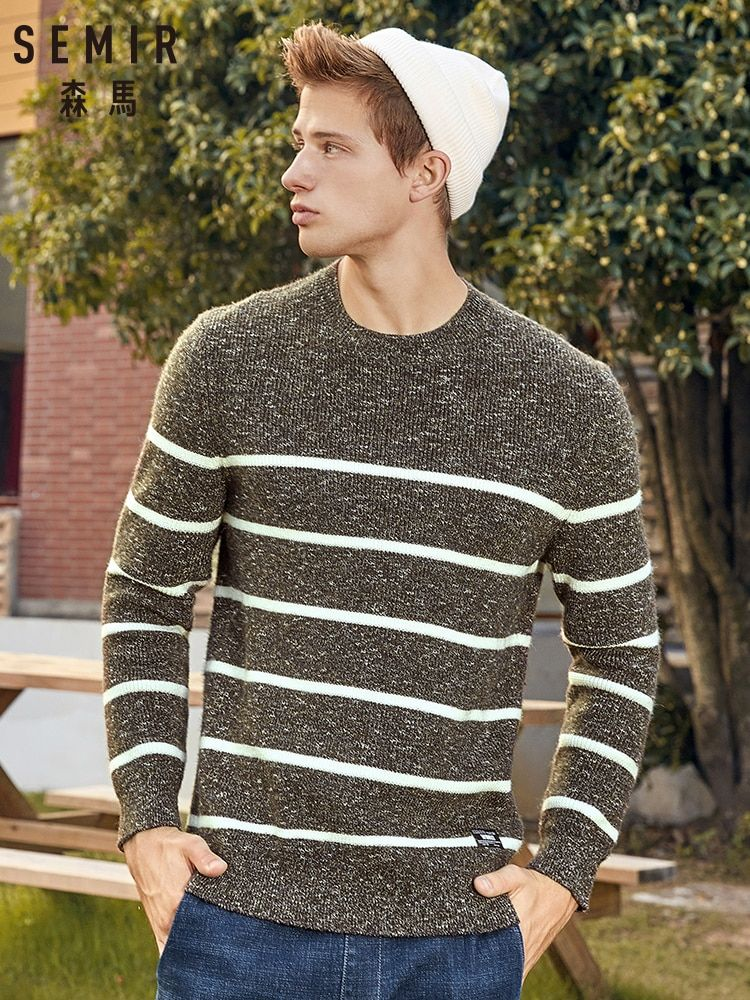 YONGM Mens Autumn Long Sleeve Contrast Color Knitwear Pullover Sweater
