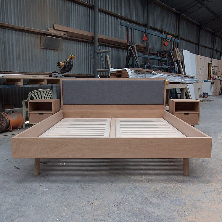 """""""I could climb in and lay down on this puppy. King size bed and matching side tables. Upholstered bedhead set into American oak. Custom order for Tony.…"""""""