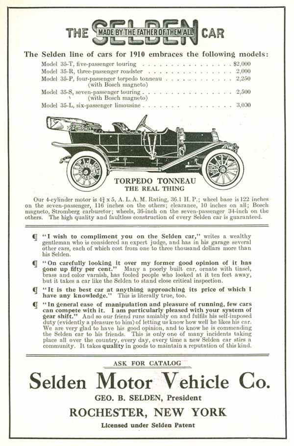 1910 Selden Line Of Automobiles Motor Car Engineering Automobile