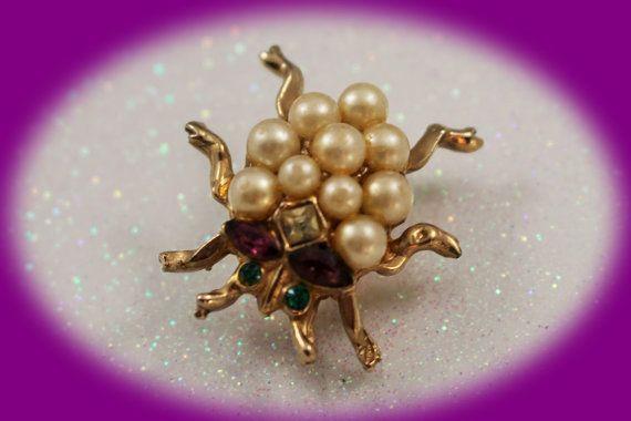 Vintage Lady Bug Pearl Brooch Pin Vintag by IRENESVINTAGEBLING