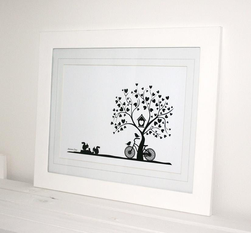 Autumn days black white print by lulawithlove on etsy
