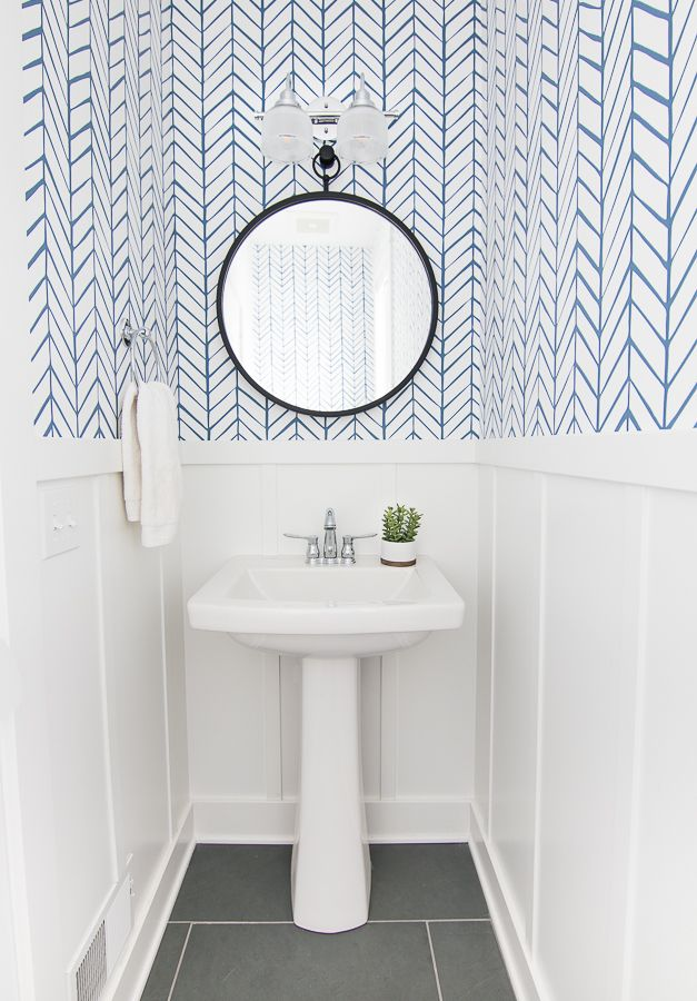 Lake House Powder Room Small bathroom wallpaper, Serena