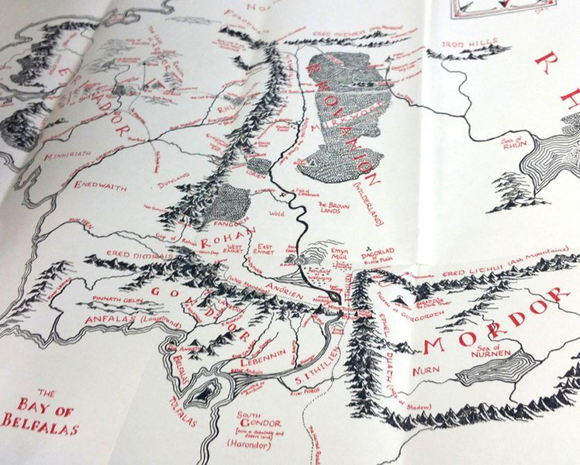 Detail Illustrated Map found in the First Edition First Printing