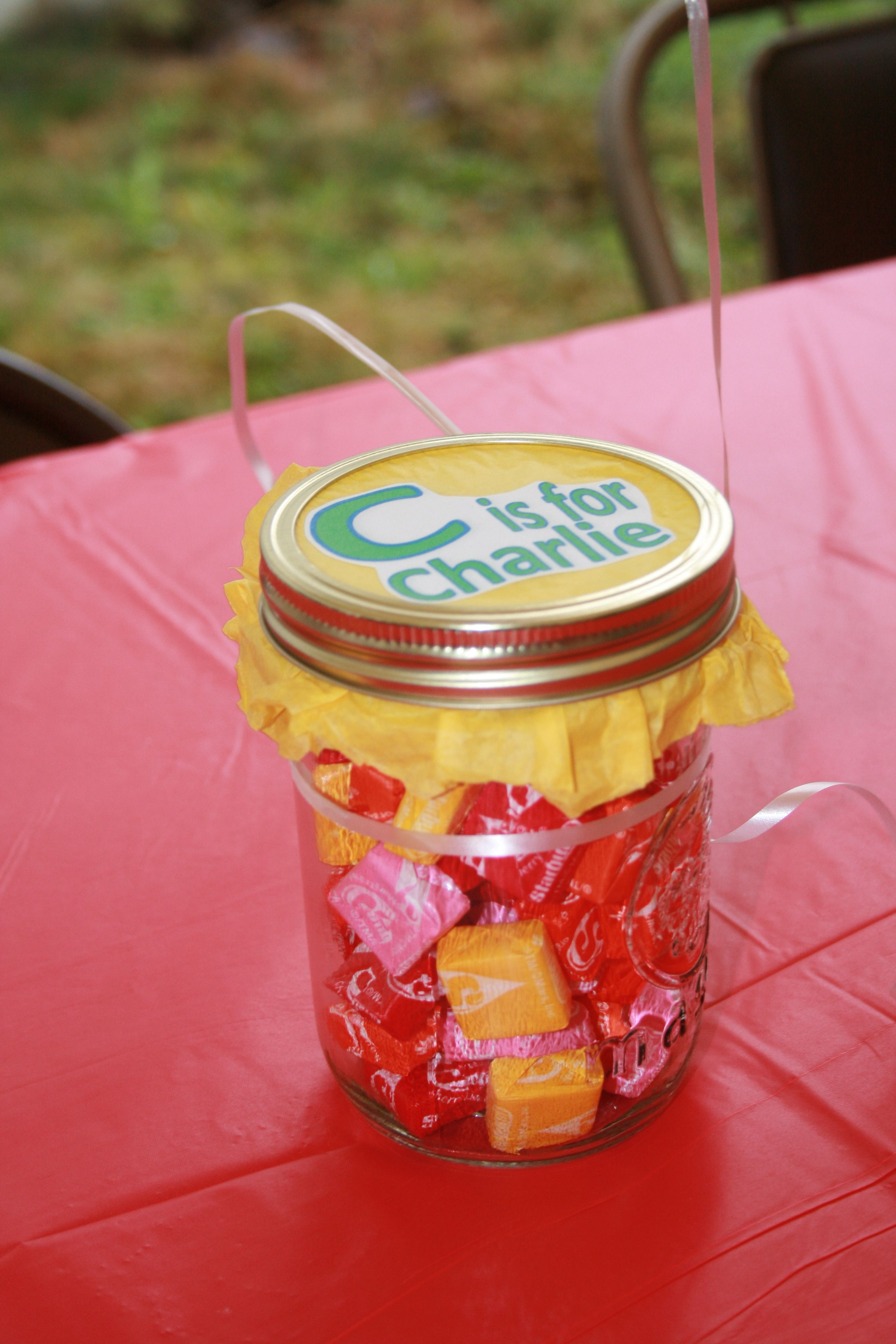 Candy mason jar centerpieces charlie s sesame street st