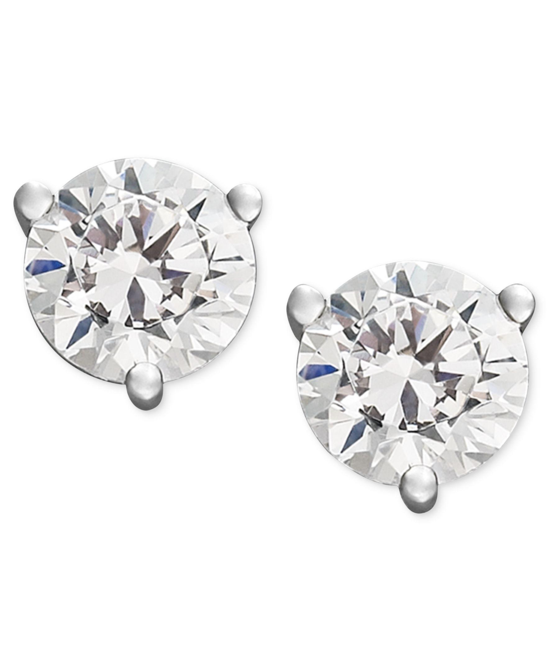 Certified Near Colorless Diamond Stud Earrings In 18k White Gold Or Gold 1 4 Ct T W Stud Earrings Bar Stud Earrings Diamond Studs