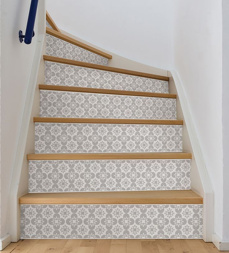 Wooden Stairs With Painted Stripes Updating Interior: Features: -Stair Stripes Are Peel And Stick