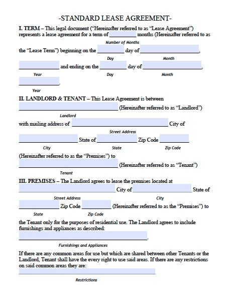 Printable sample residential lease agreement template form for Housing lease template