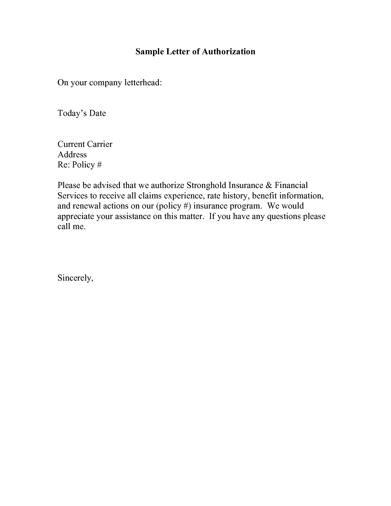 Authorization Letter Format Samples Best Template