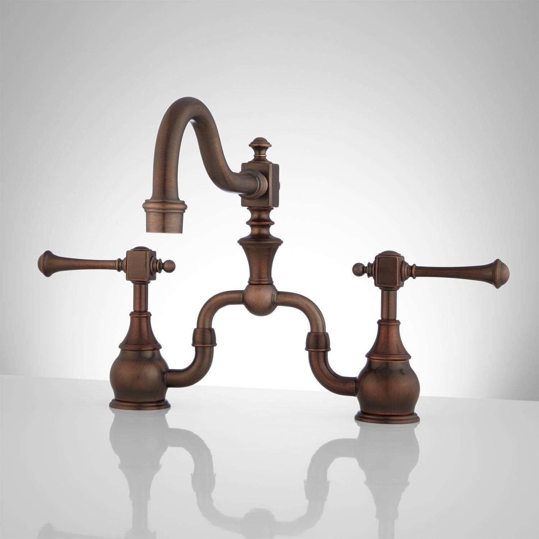 Vintage kitchen sink faucets home kitchen vintage bridge kitchen faucet lever handles