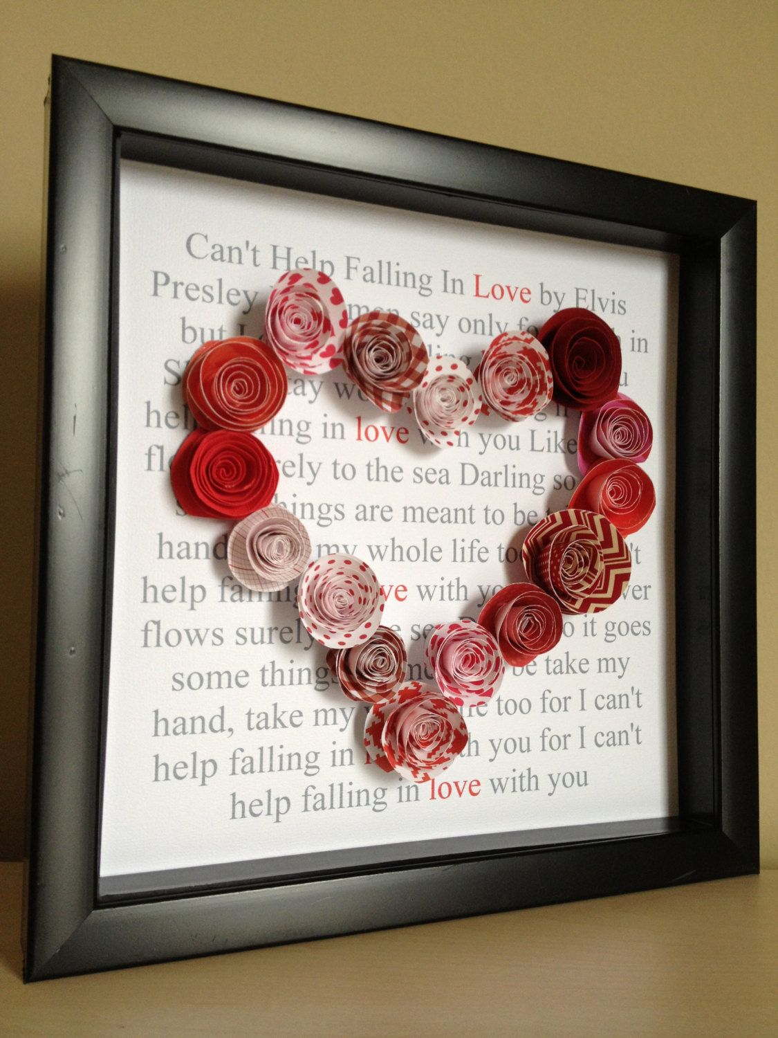 Song Lyrics 3d Paper Art with 3d paper roses custom with