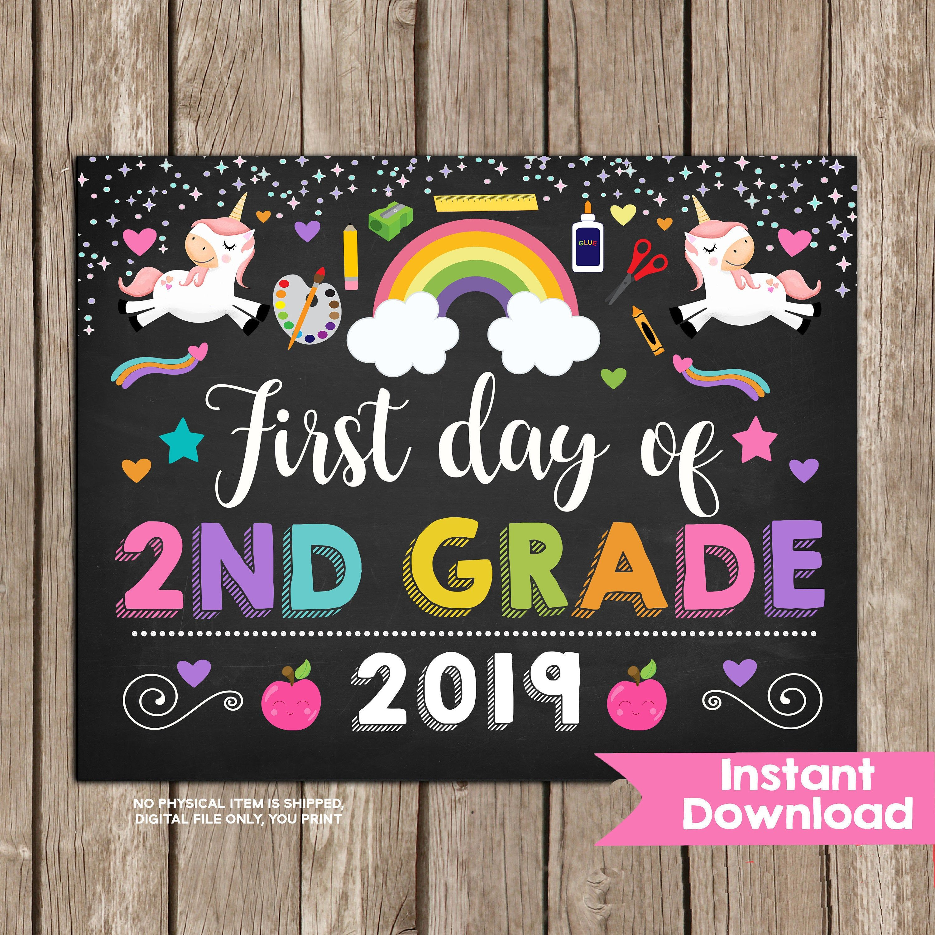 photo relating to First Day of Second Grade Printable Sign identify Unicorn Very first Working day of 2nd Quality Indicator,Lady 1st Working day of Instant