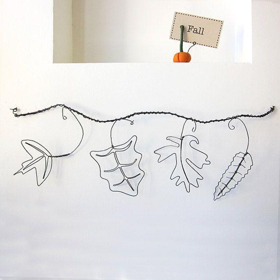 Fall Leaves Wire Art Sculpture With Branch By Lifeonwire On Etsy 34 00 Diy Fil De Fer Fil De Fer Et Art Fil