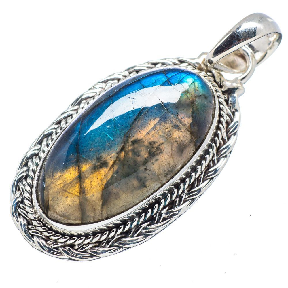 """Labradorite 925 Sterling Silver Pendant 1 3/4"""" PD525638"""