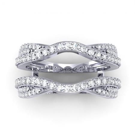 075 carat ctw 14k white gold round diamond wedding band enhancer guard double ring - Double Band Wedding Ring