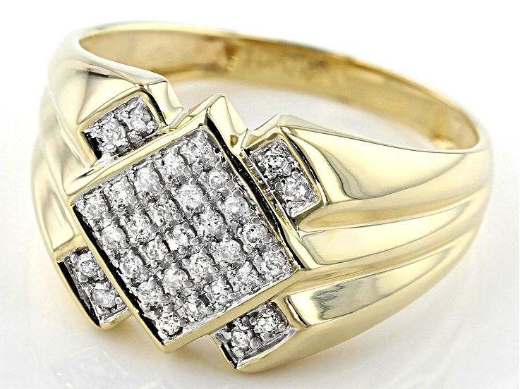 White Diamond 10k Yellow Gold Mens Ring 0 27ctw Dgm008 In 2020 Yellow Gold Mens Rings Mens Rings Fashion Gold Ring Designs