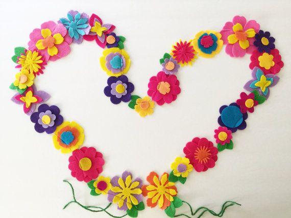 Flower Felt Garland, Easter Garland, Spring garland, Tropical Flower Garland, Tropical Flower, Garland, Banner, FlowerBanner,Easter Banner