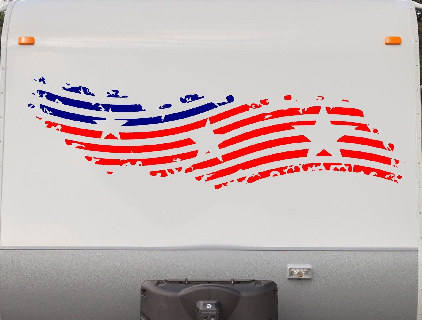 Usa flag stars and stripes rv camper 5th wheel motorhome vinyl decal sticker graphic custom text mural us014