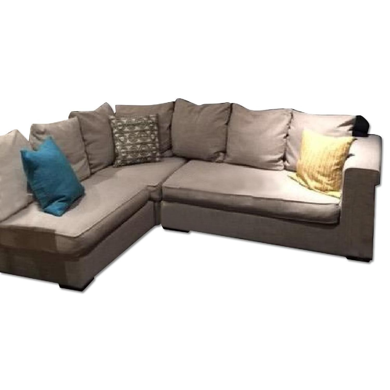 West Elm Tan Linen Weave 3 Piece Walton Sectional Sofa
