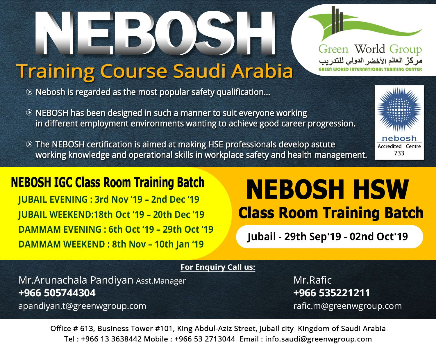 NEBOSH Course in Saudi Arabia Occupational health and