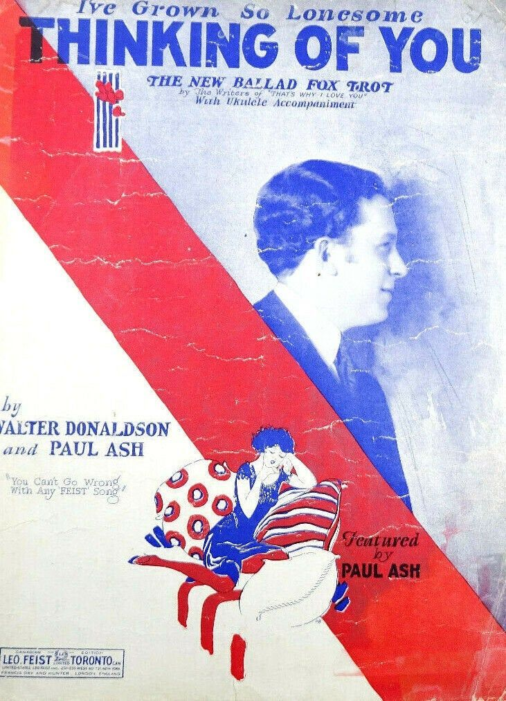 I've Grown So Lonesome Thinking of You Foxtrot Vintage Sheet Music 1926 Paul Ash #vintagesheetmusic