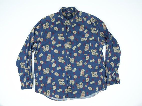 2f0d3688 Insane Fleur de Lis and Coins all over print shirt. Button down collar, one  chest pocket. Coolest Dockers shirt ever produced. Mens large, oversized,  roomy ...