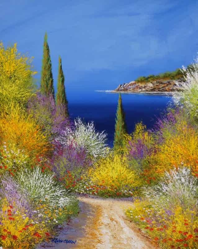 Calanque   Peinture paysage, Paysage magnifique dessin, Paysage pastel