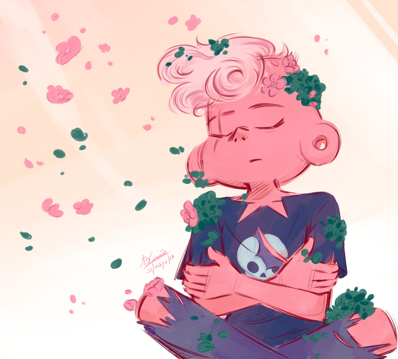 Pink Lars The Moss Was Just Trying To Bloom And Bloomed Steven Universe