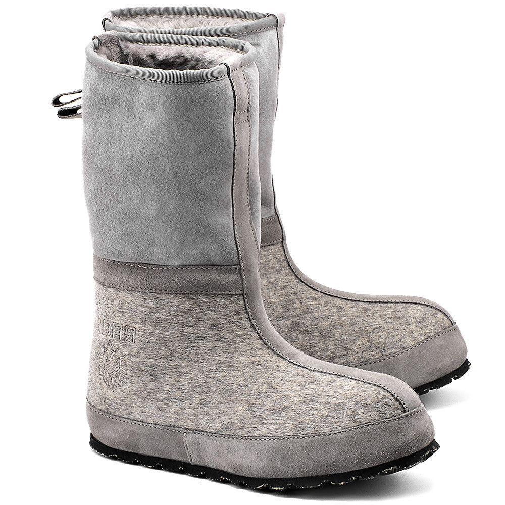 Zdar Igor Szare Filcowe Sniegowce Damskie Buty Kobiety Sniegowce Mivo Shoes Ugg Boots Boots