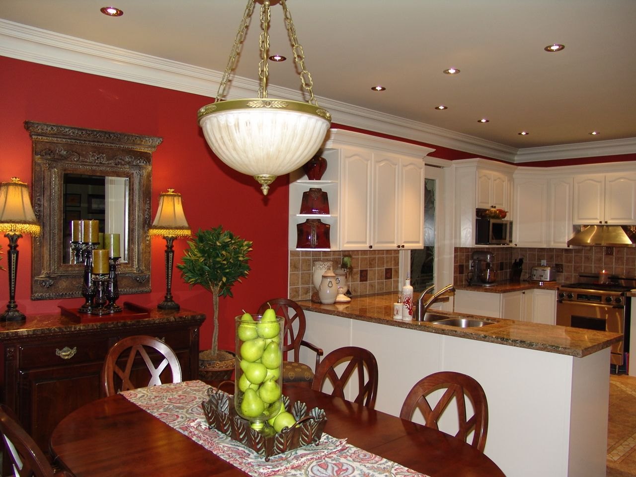 """Red Painted Kitchens i think this is going to be my """"inspiration photo"""" for my kitchen"""