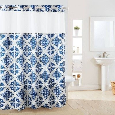 Missioi Medallion Shower Curtain With Liner Navy Hookless Blue