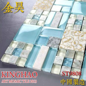 KINGHAO Blue  white color mix Luminous glass mosaic  stone mosaic
