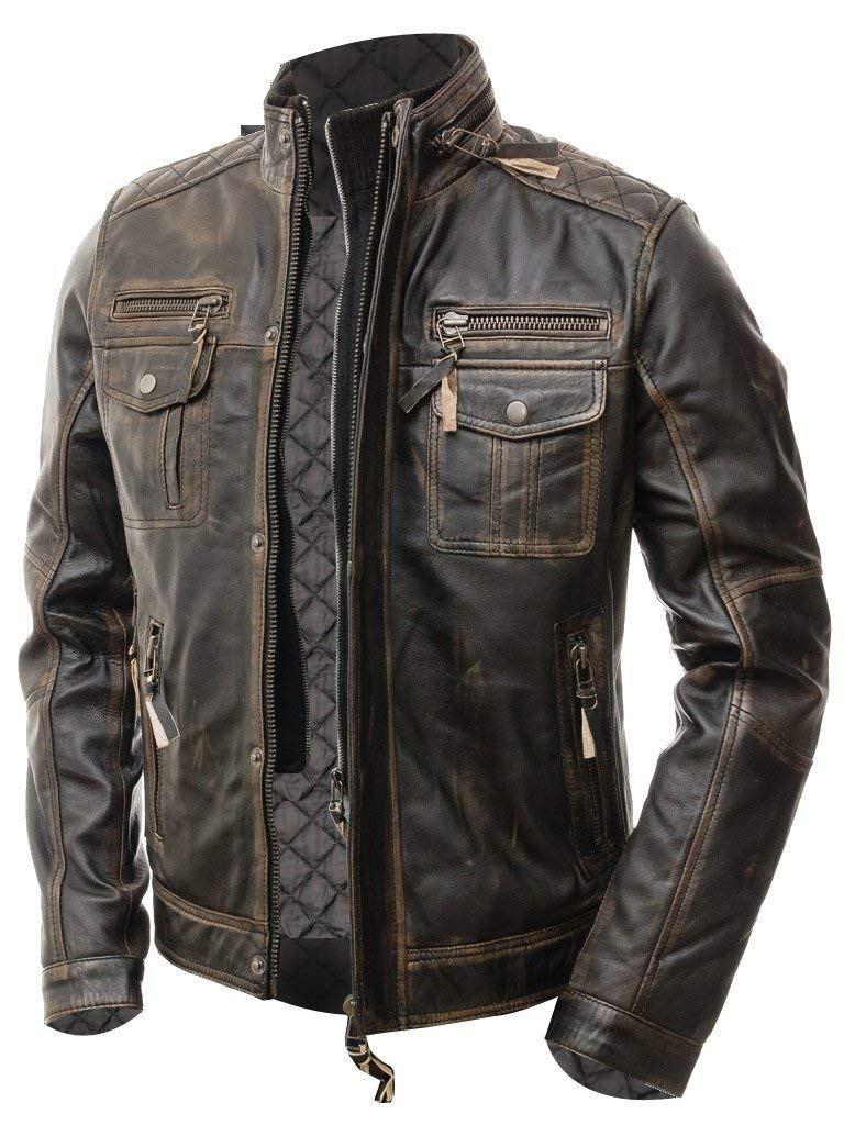 Kleidung, Helme & Schutz Retro Motorrad Cafe Racer Lederjacke ...