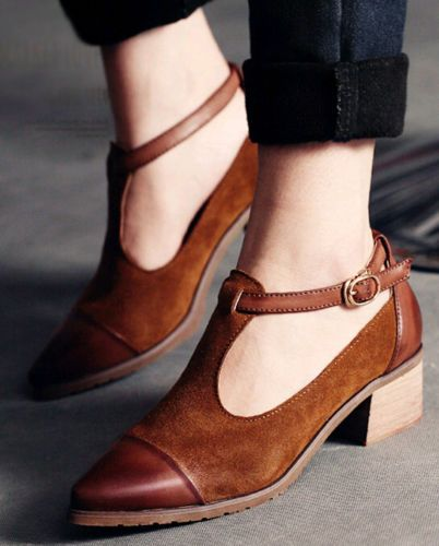 e58064cf5d3c5 Korean Womens Suede Buckle Strap Pointed Toe Shoes Low Chunky Heels New  Fashion