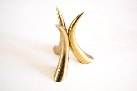 Brass Horn Centerpiece  Mid Century Modern  by TheCactiCollective