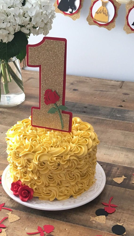 Beauty and The Beast Smash Cake Topper First Birthday Party Cake