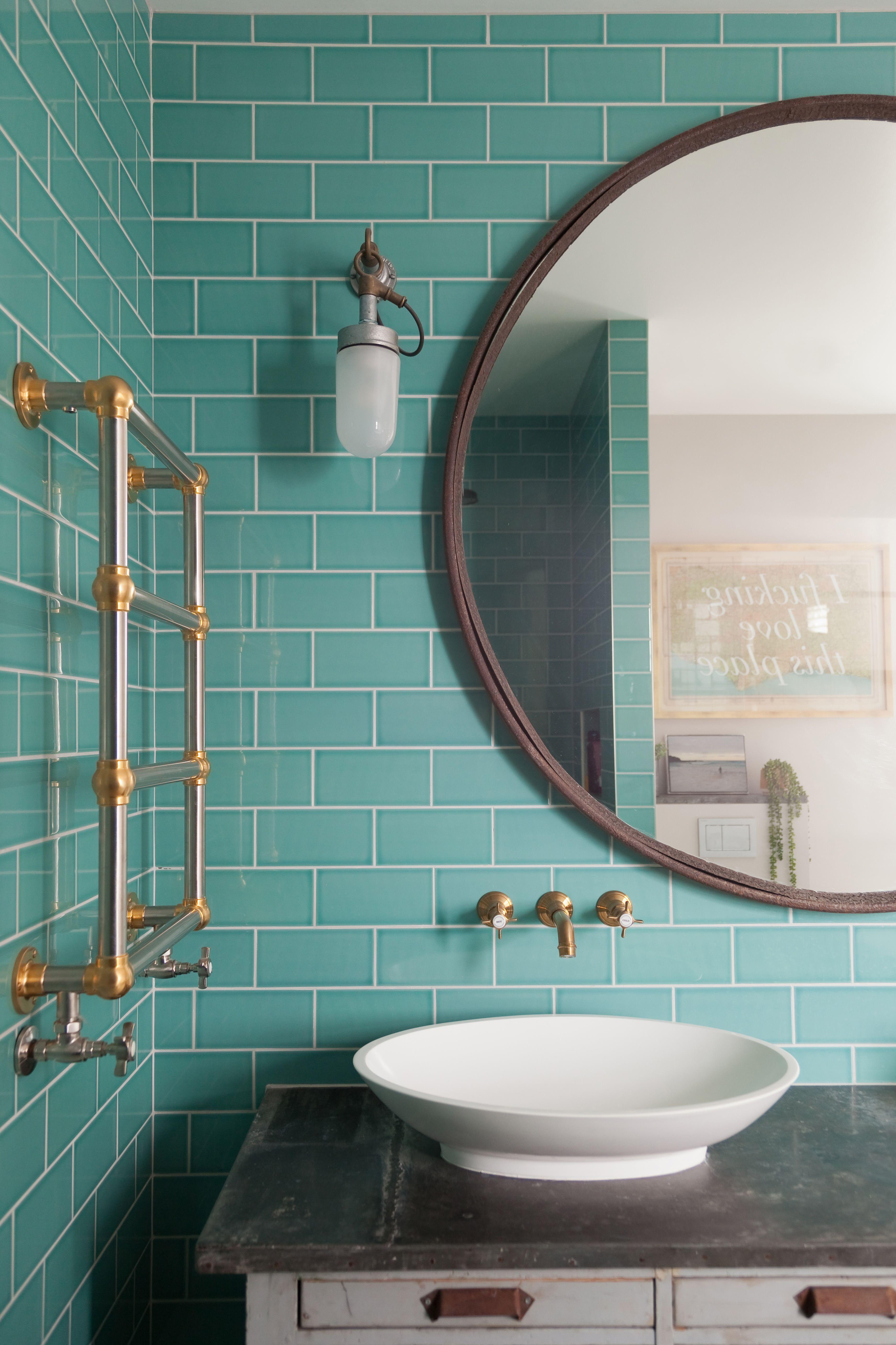 2lg Studio St Albans England Edwardian Cottage Home Tour Bathroom Tile Designs Turquoise Bathroom Retro Bathrooms