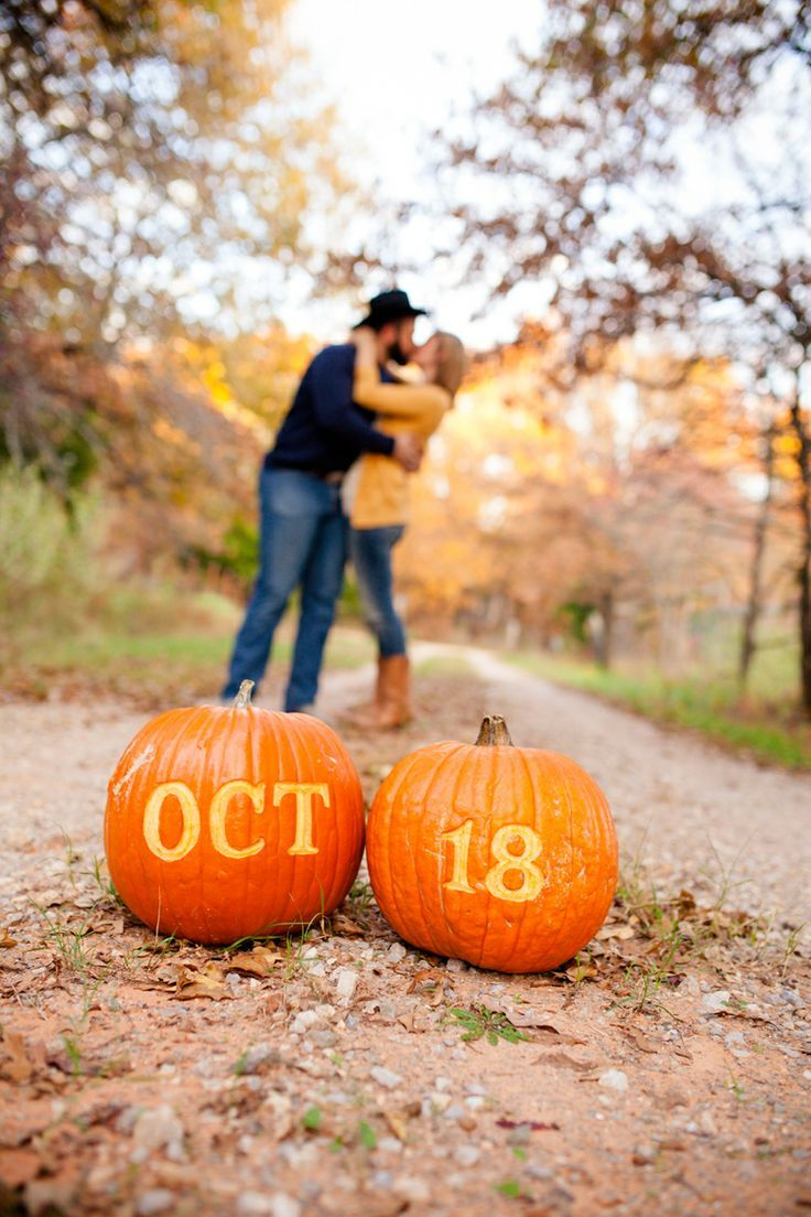 save the date idea with pumpkins perfect for fall brianna record