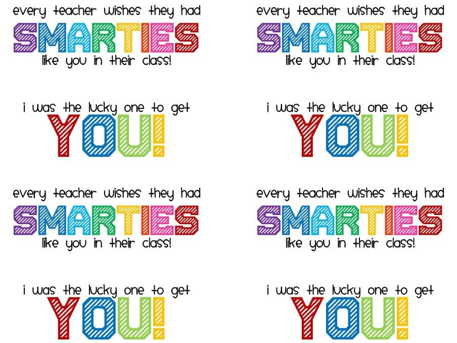Smarties Printable Student Gifts Welcome To Kindergarten Welcome To School