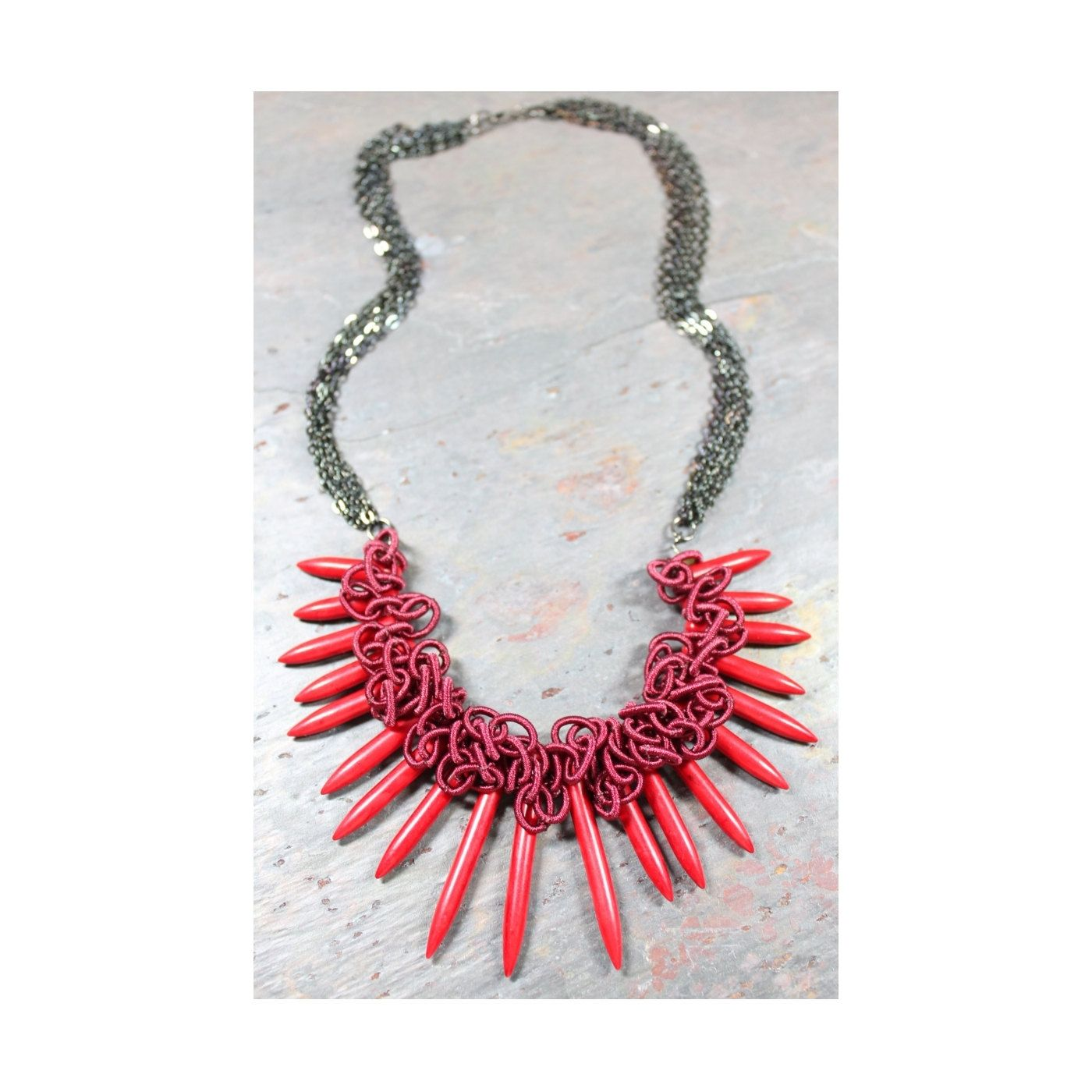 Maroon+red+Statement+necklace+by+FotiniDesigns+on+Etsy,+$45.00