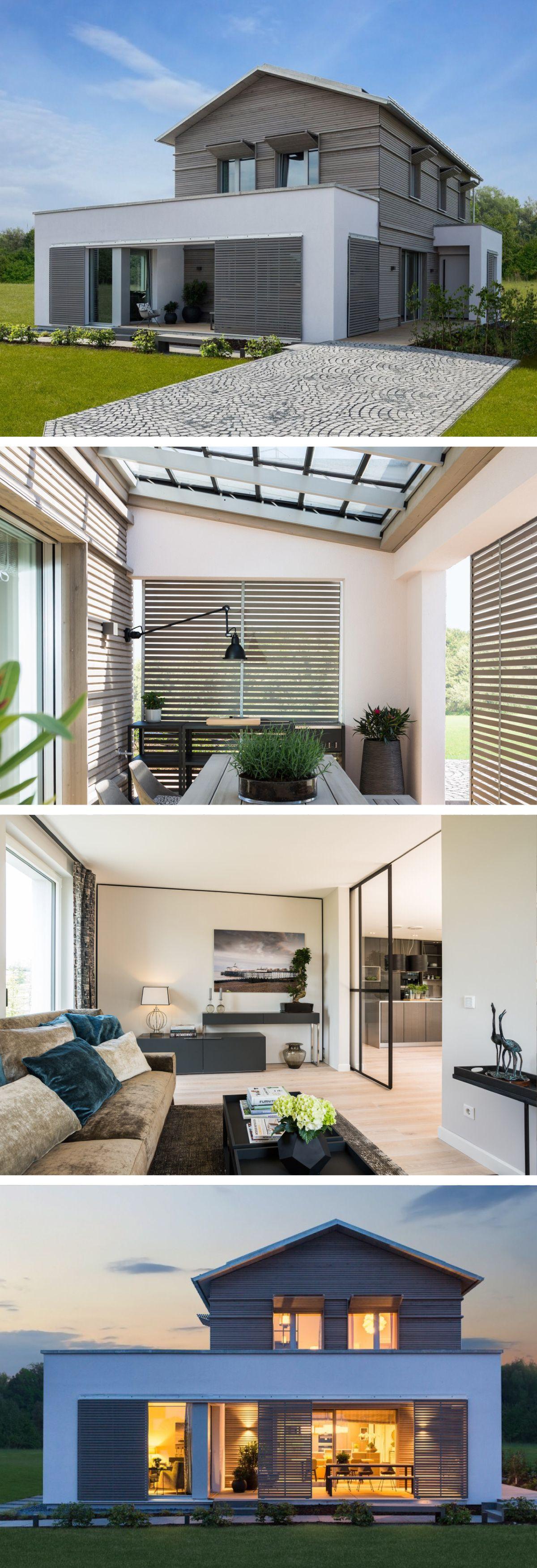 energiesparhaus mit loggia haus naturdesign von baufritz fertighaus bauen mit satteldach und. Black Bedroom Furniture Sets. Home Design Ideas