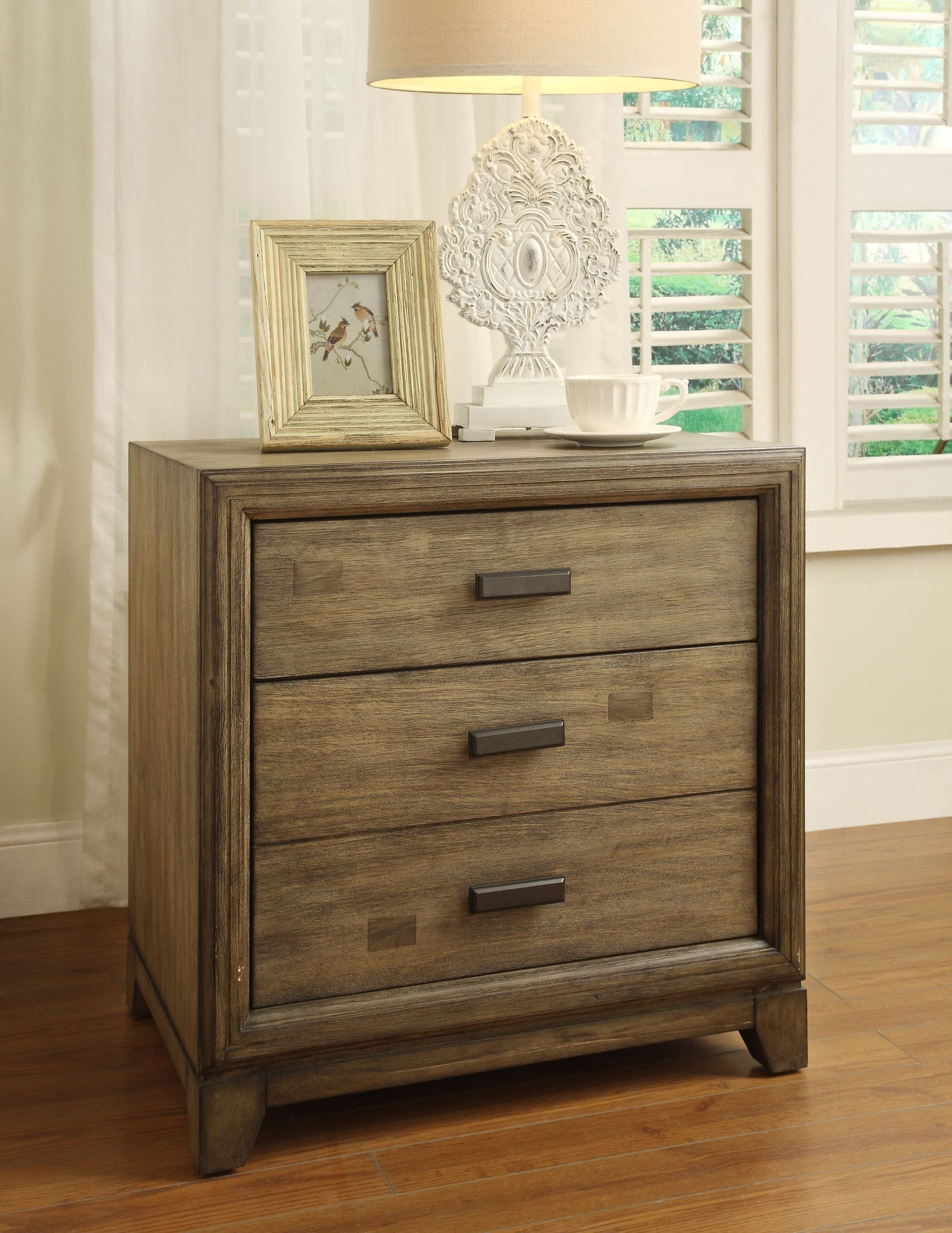 Elegant Nightstand With Outlets Furniture Of America 3 Drawer